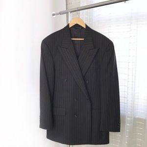 Burberry Vintage Double Breasted Pinstripe Blazer